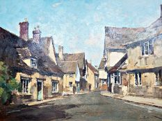 "Stanley Orchart Oil ""Evening light at Lacock"", signed lower right, bears label verso, 39cm x 48.5cm"