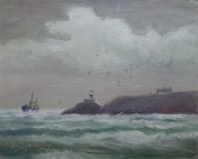 "George McConkey Oil Rough sea, signed lower left, together with Harrie McManus ""Evening Sky, Hawth"