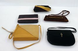 Vintage bags - brown and yellow velvet evening bag with chain strap, black velvet bag with paste