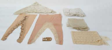 Two early 19th century chiffon fichouwith lace detail, a cream lace shawl and other piecesand five