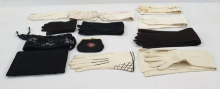 Quantity of vintage kid and leather evening gloves, long and short, pearl buttons, an embroidered