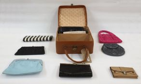 Quantity of vintage and later handbags within a leather case