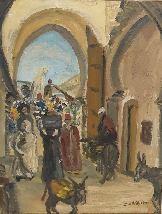 Lot 16 - W.G. Scott-Brown 'Bill' Acrylic on panel  'Fez', old Marrakech through arch, titled verso signed