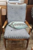 Early 20th century Parker Knoll armchair with grey upholstered seat and back