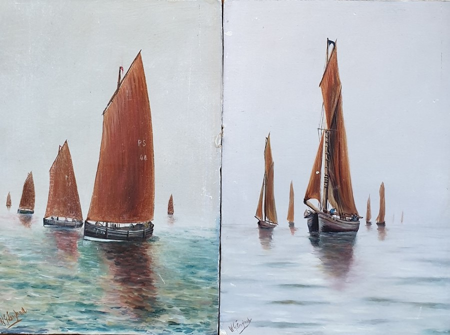 Lot 51 - W G England Oil on board Sailing ships, a pair each signed lower left 23cm x 15.5cm (2)