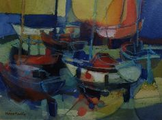 "Moira Huntley (20th Century)  Watercolour  ""Floats"",  Boats in harbour, signed lower left, 15cm x"