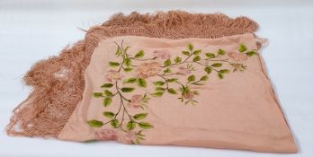 Peach-coloured Chinese silk embroidered shawl embroidered in one corner and a black embroidered