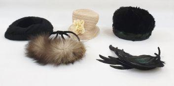 1950's hats - feathered hat, black straw coolie hat with faux flower and net detail, feathered hat