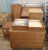 Quantity of teak modular Danish P S Systems furniture, Design No. B3309,to include shelves with