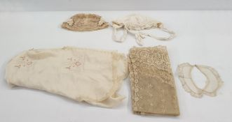 1920's silk blouseembroidered with pink roses in an Art Nouveau design and a quantity of lace items