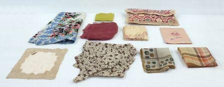 Quantity of 1920's, 30's, 40's and 50's handkerchiefs, scarves, etc (1 box)