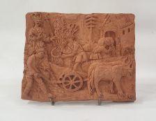Marlene Badger terracotta sculpture- plaque harvest scene, 24cm