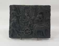 Marlene Badger cast resin sculpture, harvest scene plaque, 22cm