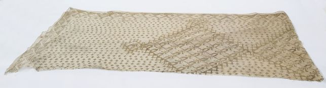 Early 20th century cream Assuit shawl with gold-coloured hammered metal design (one edge has been