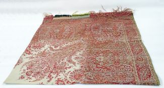 Large 20th century Paisley shawl in pinks, reds and rusts with a central cream design, 173cm x 162cm