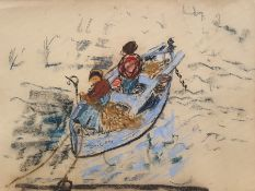 W. G. Scott-Brown 'Bill' (1897-1987) Pastel Figures in boat 'Toulon' mending nets, probably South of