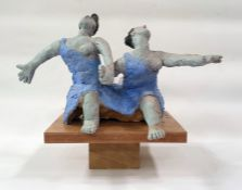 Marlene Badger cement fondue sculpture - just friends, sculpture of skipping figures hand in hand