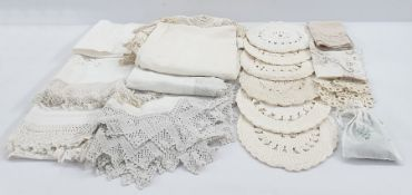 Quantity of table linen and a patchwork quilt (1 box)