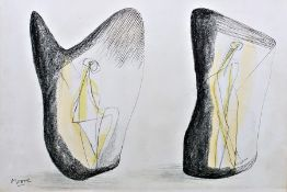 After Henry Moore (1898-1986) Lithographic print Figures in sculpture, bearing printed signature