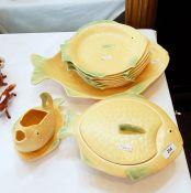 Shorter and sons pottery fish service in yellow and green, eight fish plates, serving plate, covered