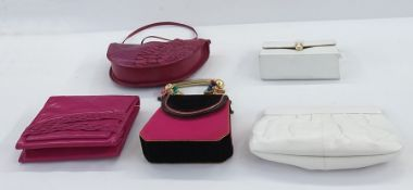 Vintage bags including Charles Jourdan white leather clutch bag with petal edge, Helene Ongeli