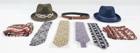 Two Lily & Poppy pork-pie gentleman's straw hats, a selection of silk ties including Liberty in
