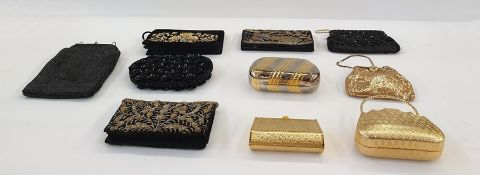 Four various gilt metal and gold mesh evening bags, a vintage beaded baglabelled 'Made in