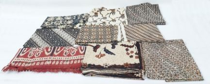 Small Iban blanket, Ikat weaving, possible Sarawak and a collection of batik panels