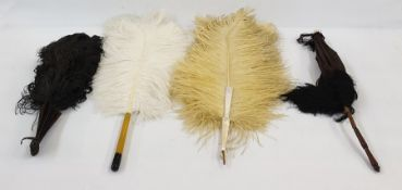 Ostrich feather fan on tortoiseshell guards, cream ostrich feather fan on four mother of pearl