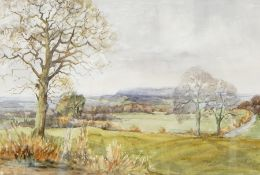 Margot Harrison Watercolour View across the valley Windrush, signed lower left, 28.5cm x 43.5cm