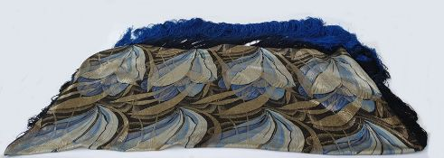 Circa 1920's lame silk brocade shawl with ornate large scale Art Deco pattern , picked out in gold,