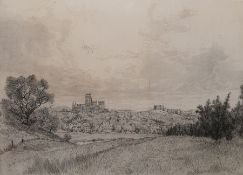 "After Freddy Theys Limited edition etching from copper plate, 3/50 ""Durham from Pelhams Wood"","