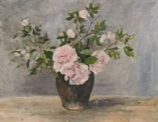W.G. Scott-Brown 'Bill' (1897-1987) Acrylic on board Roses in vase, unsigned, 35cm x 45.5cm  (