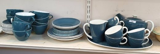 Mid 20th century Poole pottery tea set in teal blue and cream and several matching Poole items