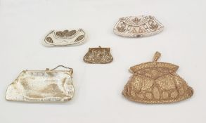 Various vintage evening bags, beaded, a gold kid leather evening bag and a gilt chain-mail purse,