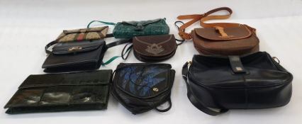 Various vintage leather bags including green-dyed crocodile clutch bag with flap over and stud