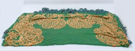 1930's green silk/chiffon shawl with ochre devore velvet design and deep fringe. Square (approx.