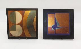 Pair paintings on glass by Hugo Hermann, each in the form of square glass tile, abstract painted