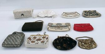 Quantity of various vintage evening bags including a brown suede minaudier with gilt-coloured