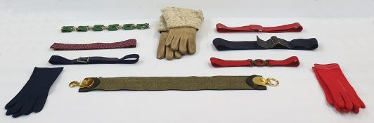 Pair of leather and lambswool vintage gauntlets, a selection of belts, gloves, etc (1 box)