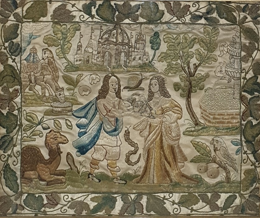Lot 143 - Carolean 17th century stumpwork and embroidered picture on silkwith raised details, seedpearl