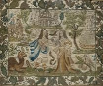 Carolean 17th century stumpwork and embroidered picture on silk with raised details, seedpearl
