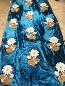Large 19th century velvet train/cover embroidered with silk and satin appliqued flowers, bead