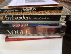 Collection of books on Fashion, Embroidery, Knitting, Shawls, etc and a  Winnie the Pooh poster
