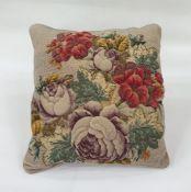 Plush and beaded cushion, 41cm x 40cm
