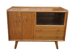 20th century Homeworthy teak/stained wood sideboard, glazed upper section, two drawers below and
