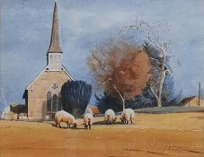 Brian Swindler Watercolour Study of four sheep with church in background, signed in pencil lower