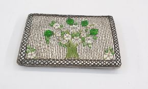 Vintage 1940's/50's evening bag, silver-coloured leather embellished with glass and bead floral