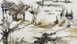 Ove (20th century) Monochromatic watercolours  Abstract landscapes and various further works by
