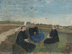 W. G. Scott-Brown  'Bill' (1897-1987) Acrylic on board Breton ladies in traditional dress and Breton